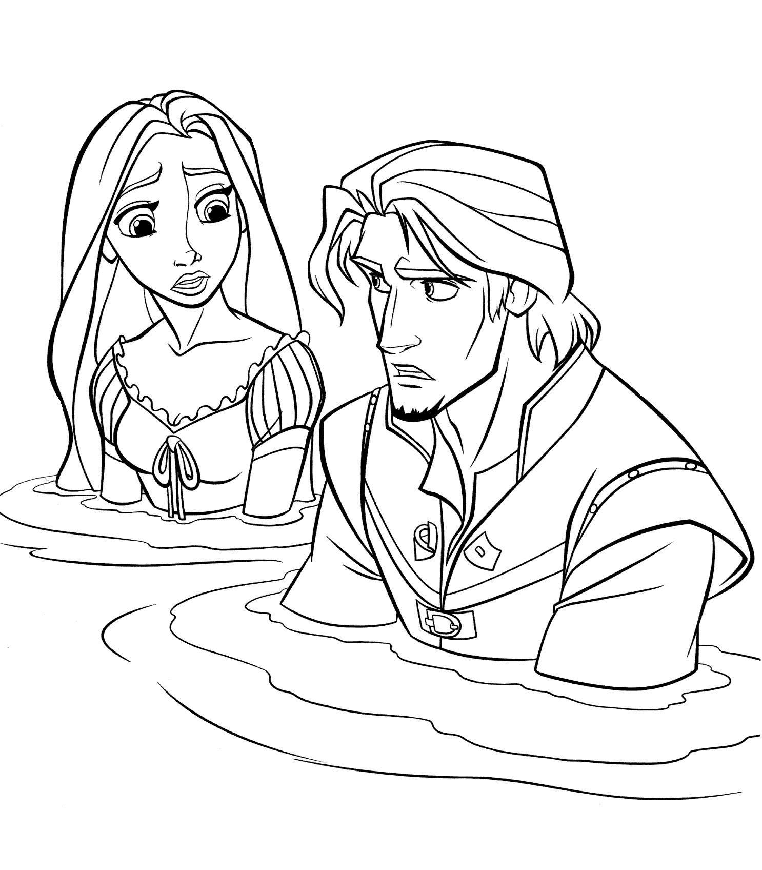 Раскраска Рапунцель и Флинн в воде распечатать или скачать ...
