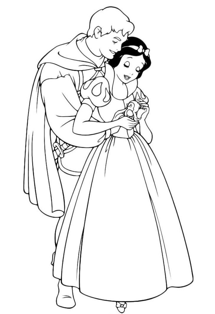 Раскраска Белоснежка с принцем распечатать или скачать ...