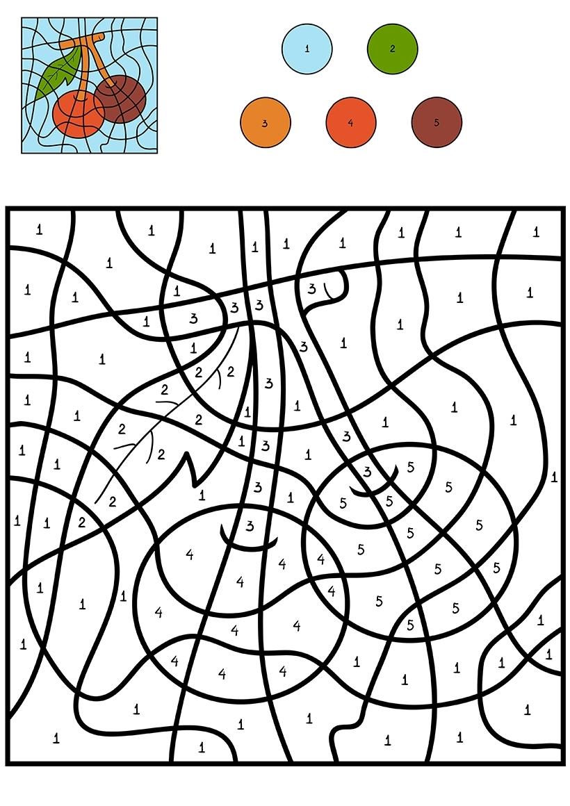 Раскраска Вишня по цифрам распечатать или скачать бесплатно
