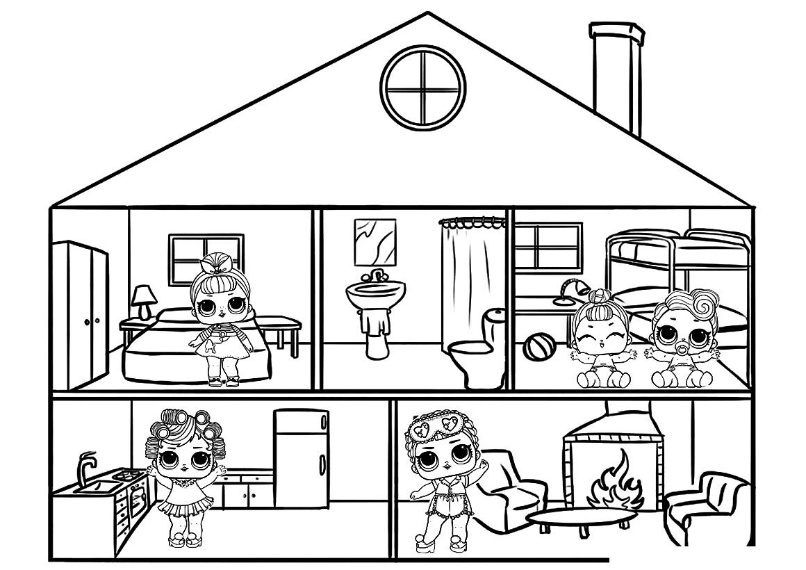 Раскраска Кукольный домик ЛОЛ распечатать или скачать ...