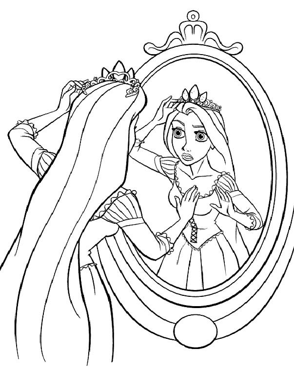Раскраска Рапунцель примеряет корону распечатать или ...