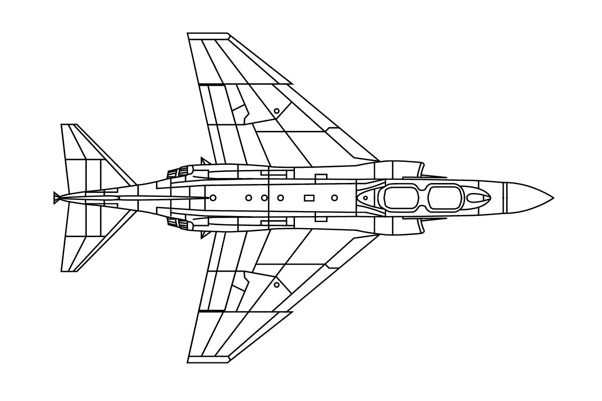Раскраска Военный самолёт распечатать или скачать бесплатно
