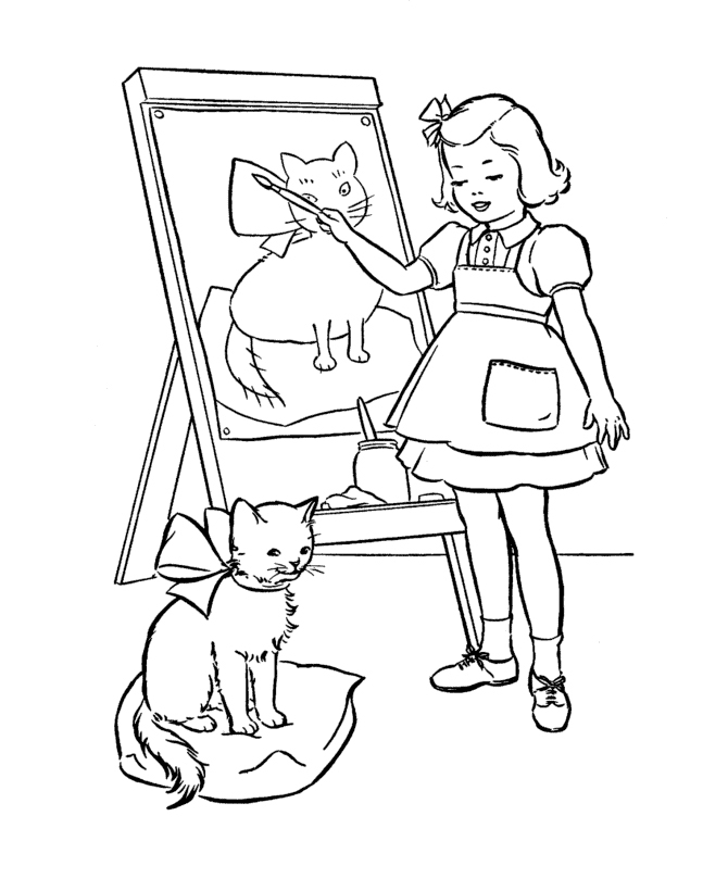 Раскраска Девочка нарисовала кота распечатать или скачать ...