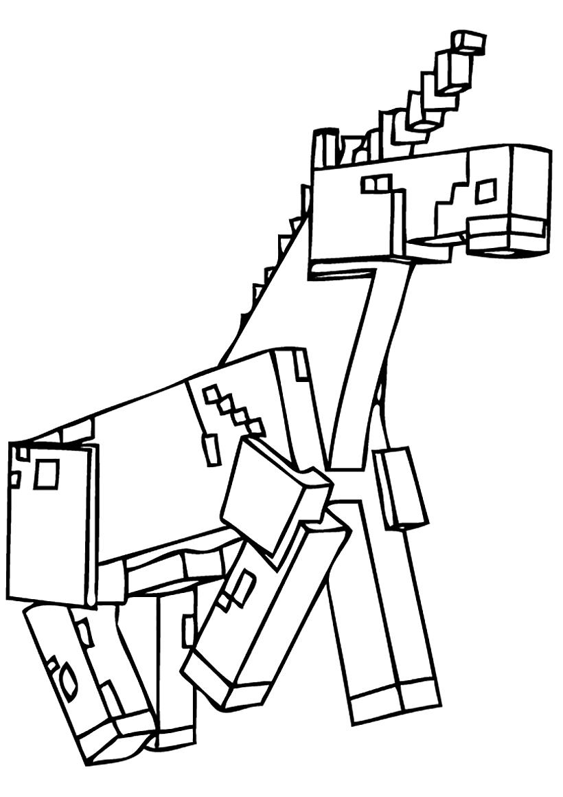 Раскраска Единорог из Майнкрафт распечатать или скачать ...
