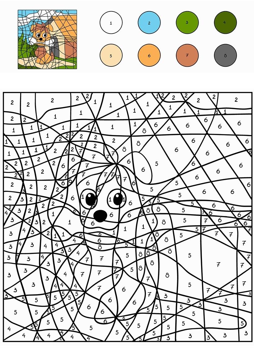 Раскраска Собака по цифрам распечатать или скачать бесплатно