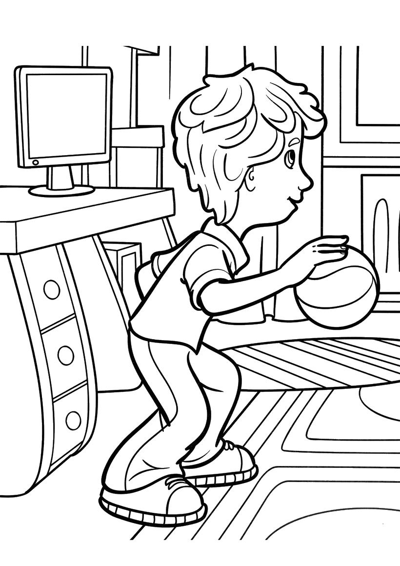 Раскраска ДимДимыч играет с мячом распечатать или скачать ...