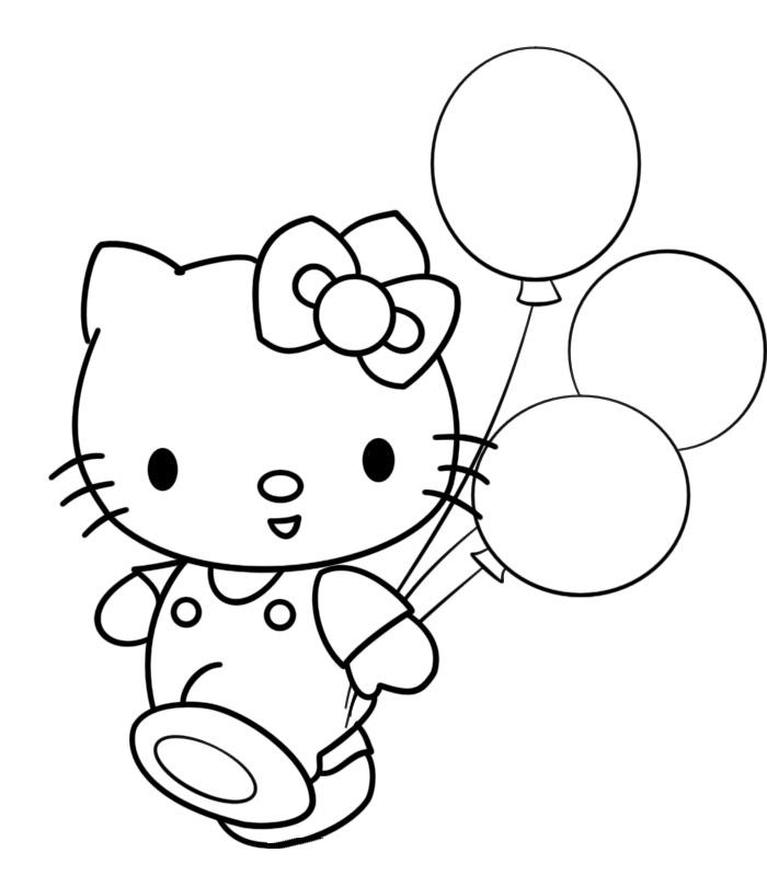 раскраска Hello Kitty и воздушные шары распечатать или
