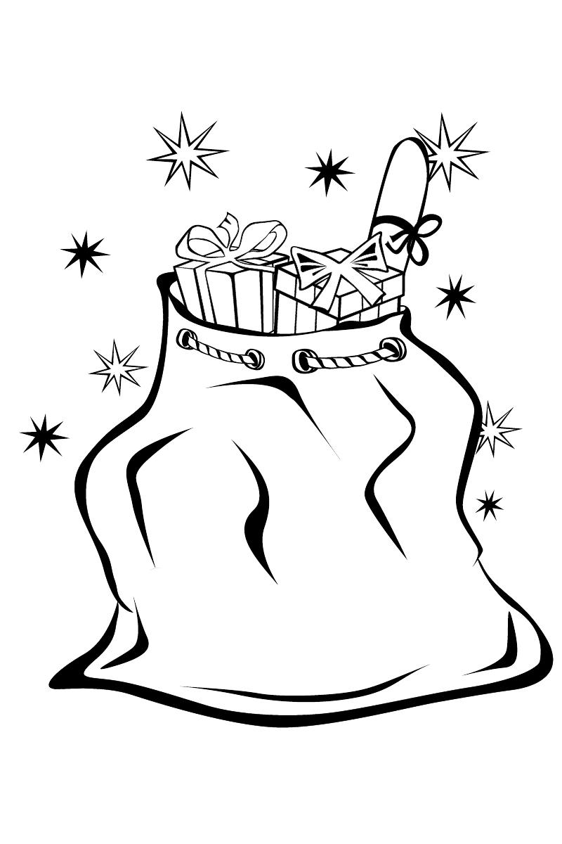 Раскраска Мешок с подарками распечатать или скачать бесплатно
