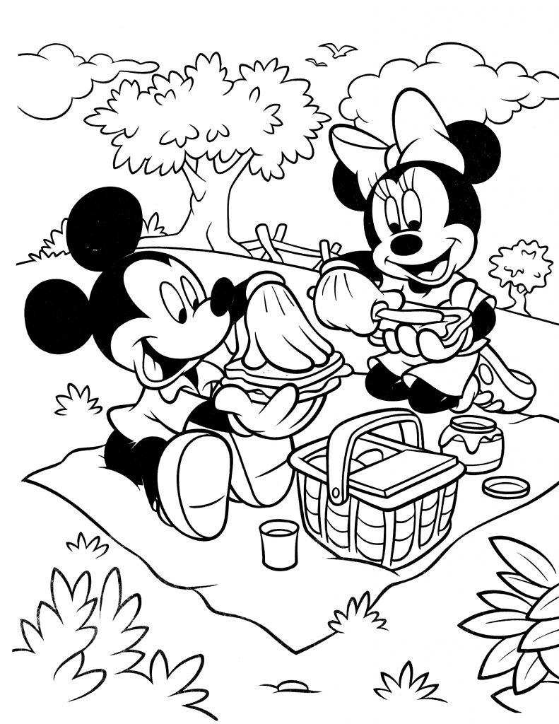 Раскраска Микки и Минни на пикнике распечатать или скачать ...