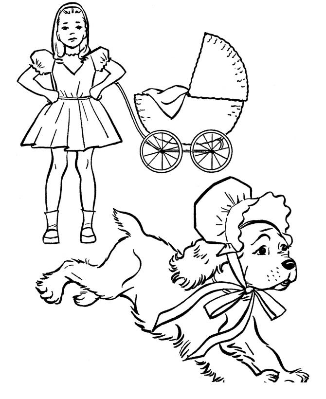 Раскраска Собака в чепчике убегает от девочки распечатать ...