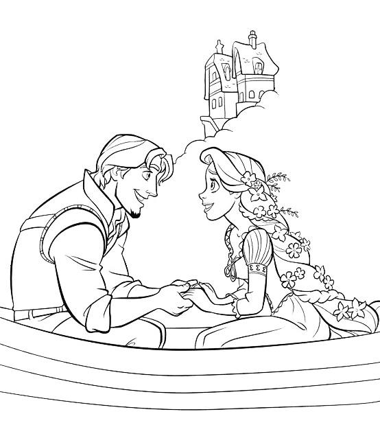Раскраска Рапунцель и Флинн вдвоем в лодке распечатать или ...