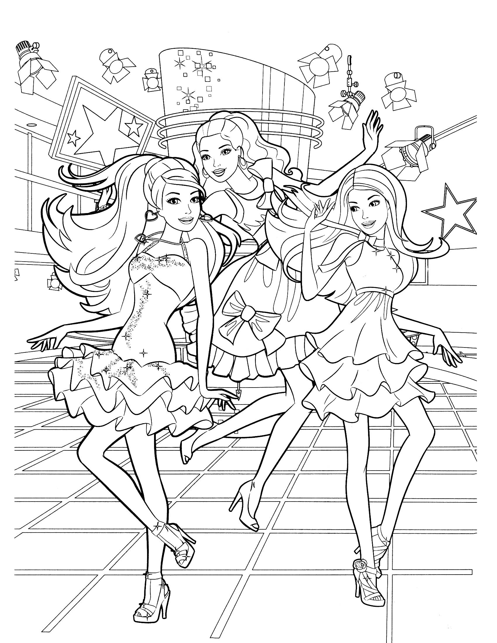 Раскраска Концерт Барби распечатать или скачать бесплатно
