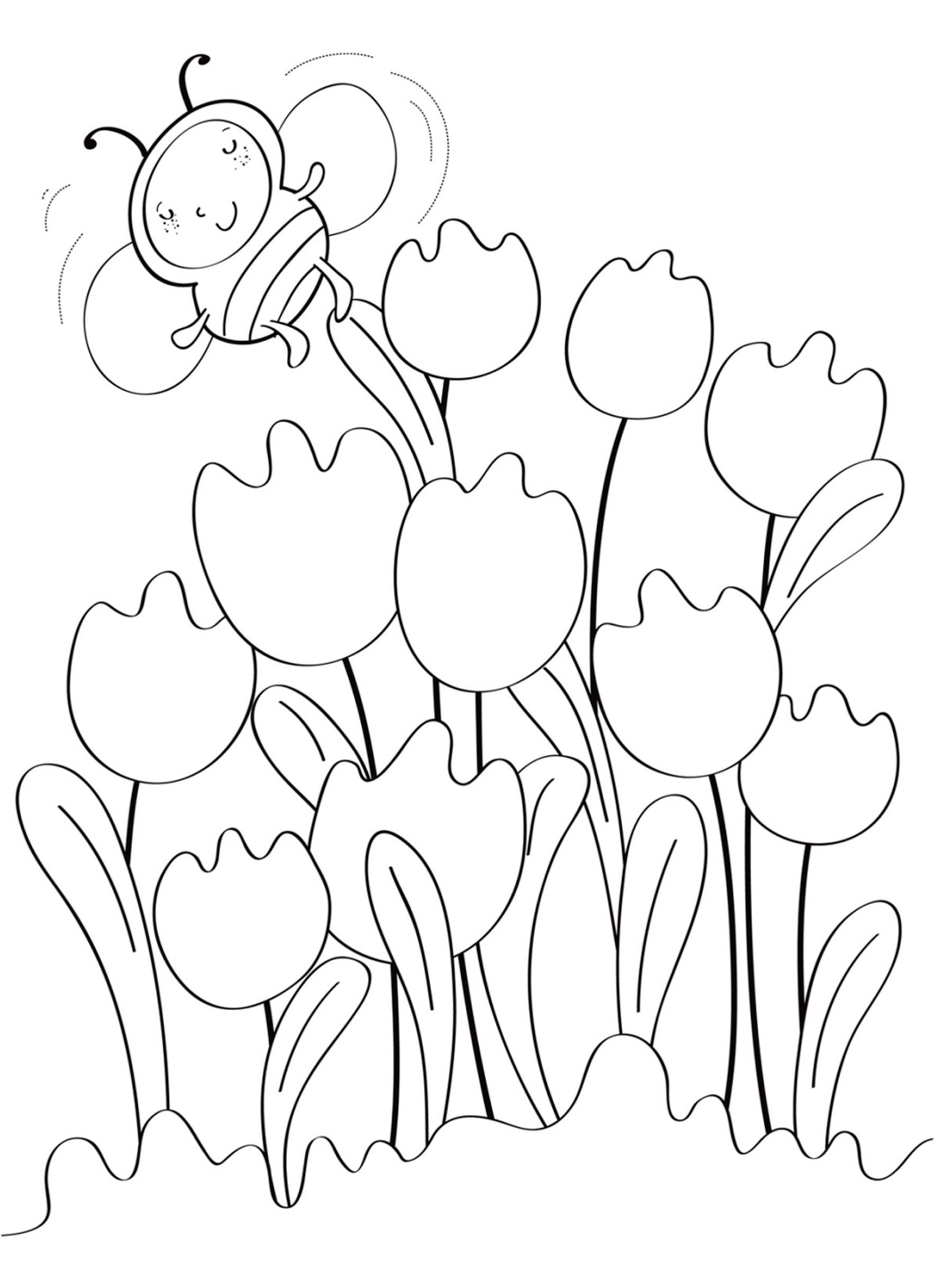 Раскраска Тюльпаны и пчелка распечатать или скачать бесплатно