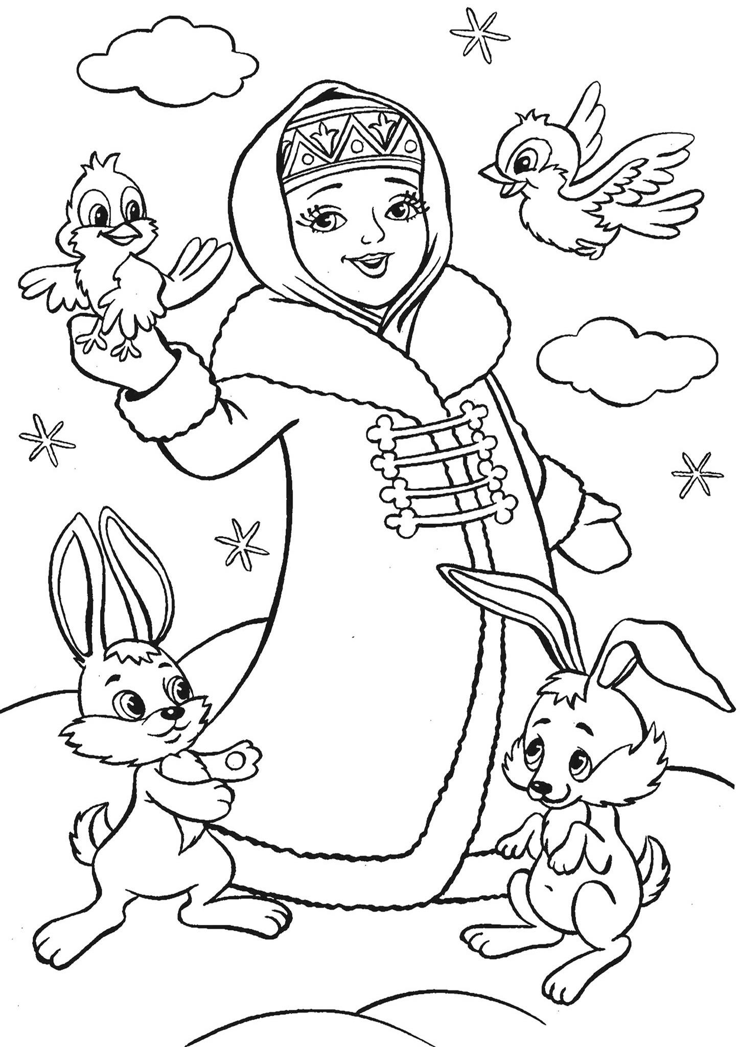 Раскраска Снегурочка с птичками и зайчиками распечатать ...