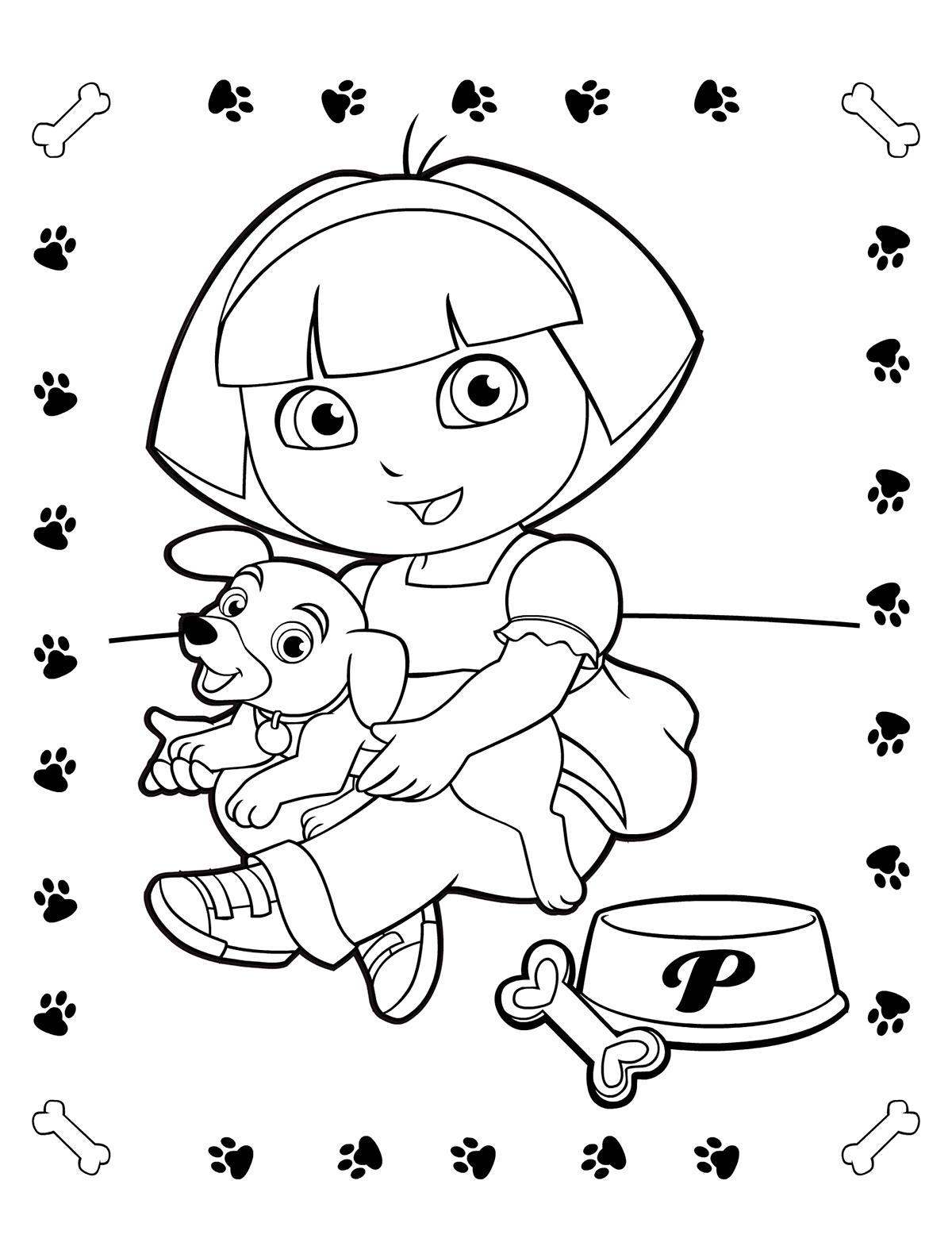 Раскраска Даша-путешественница и щенок распечатать или ...