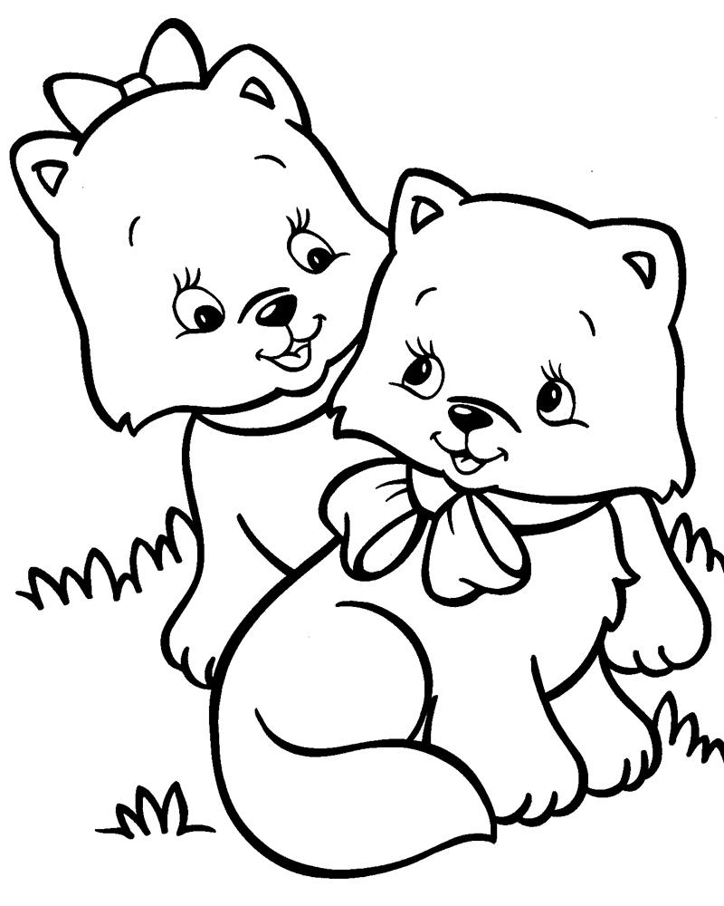 Раскраска Два милых котенка распечатать или скачать бесплатно