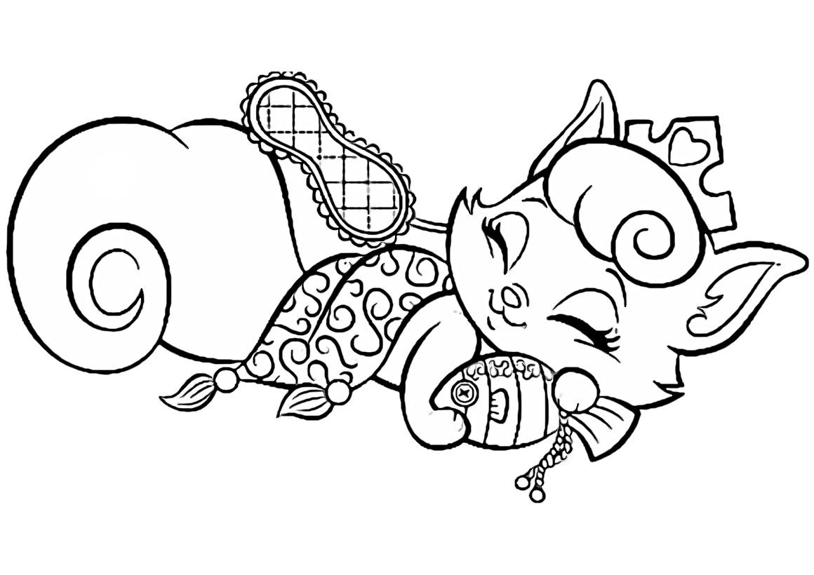 Раскраска Любимец Авроры Котёнок Милашка распечатать или ...