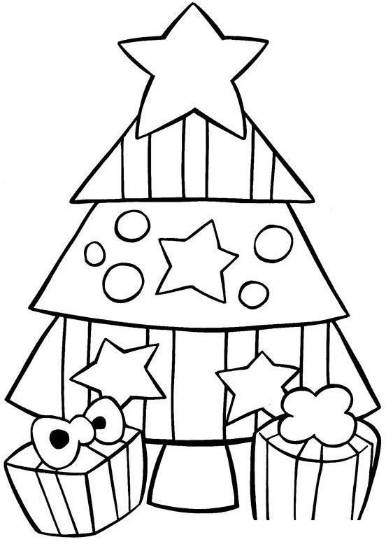 Раскраска Маленькая елочка с двумя подарками распечатать ...