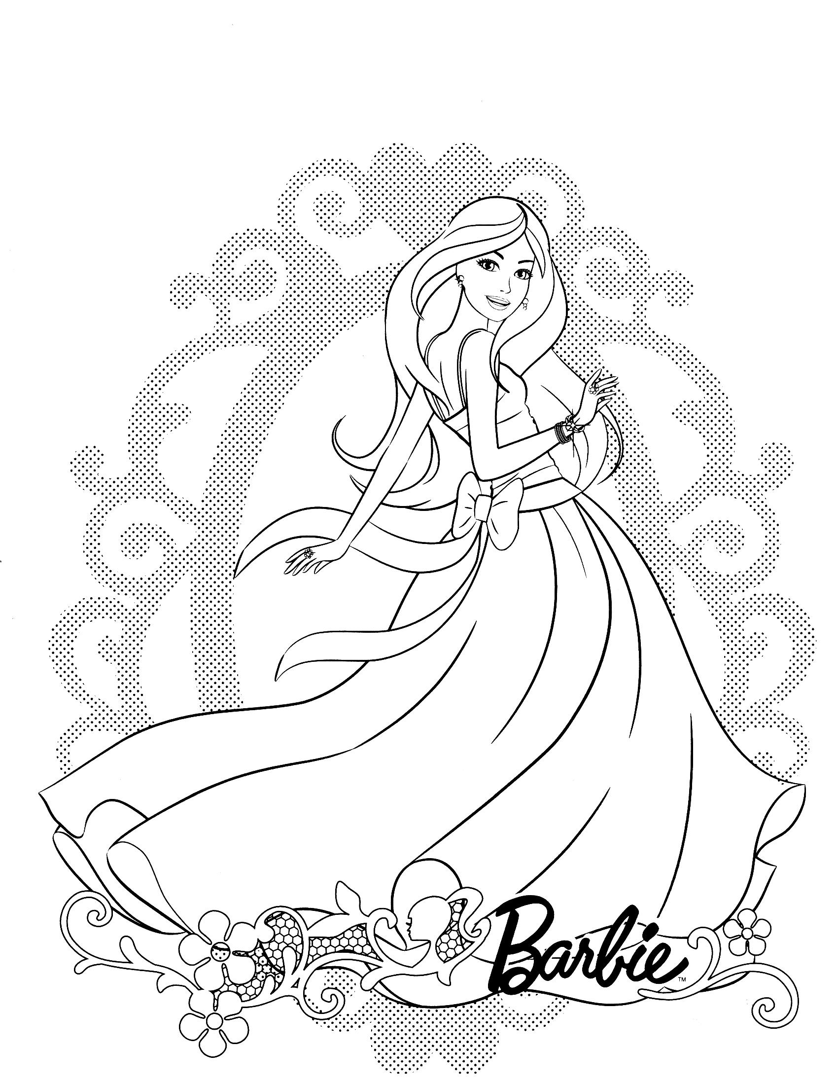 Раскраска Барби в красивом платье распечатать или скачать ...
