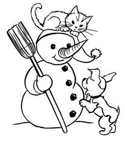 Раскраска Мальчик гладит кота распечатать или скачать ...