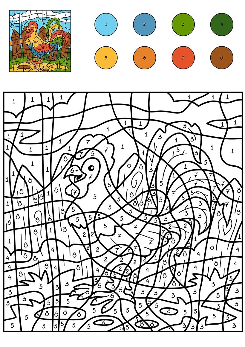 Раскраска Петух по цифрам распечатать или скачать бесплатно