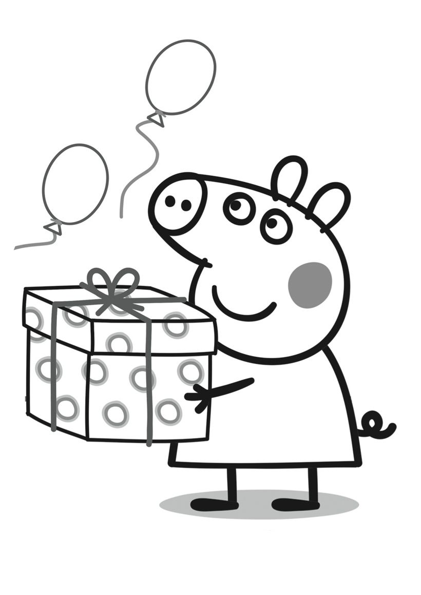 Раскраска День рождения Пеппы распечатать или скачать ...