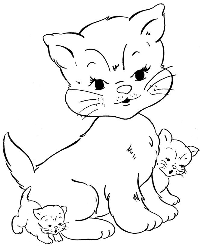 Раскраска Кошка с котятами распечатать или скачать бесплатно