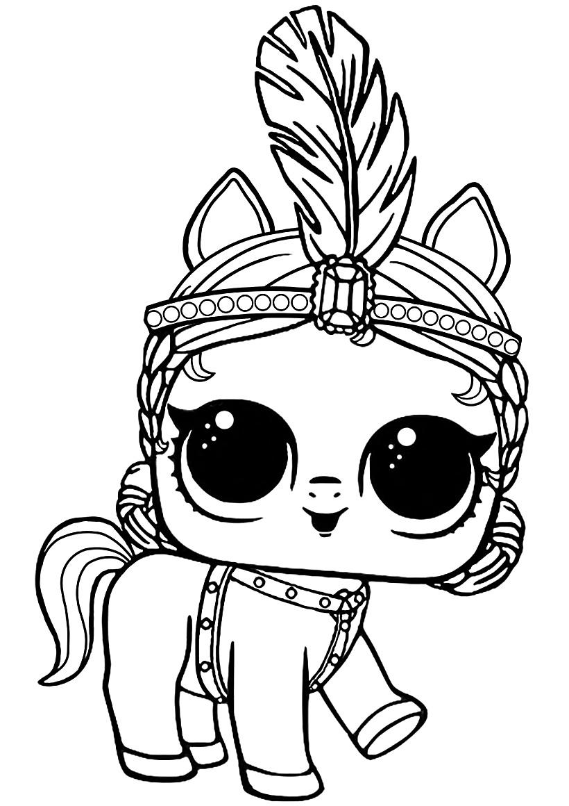 Раскраска ЛОЛ питомец пони распечатать или скачать бесплатно