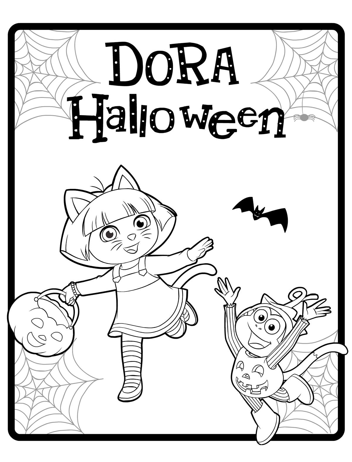 Раскраска Даша и Башмачок отмечают Хэллоуин распечатать ...