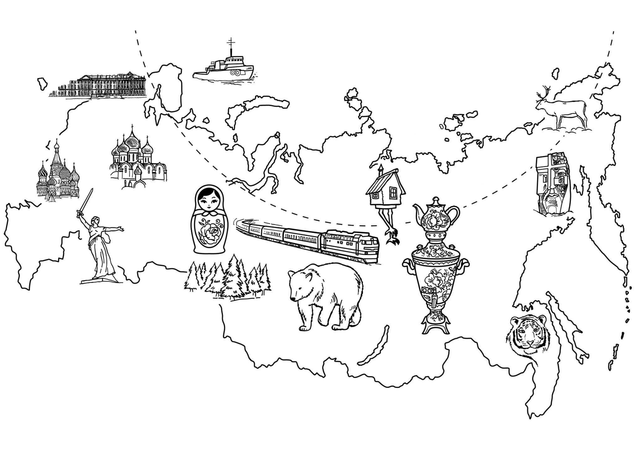 раскраска карта россии распечатать или скачать бесплатно
