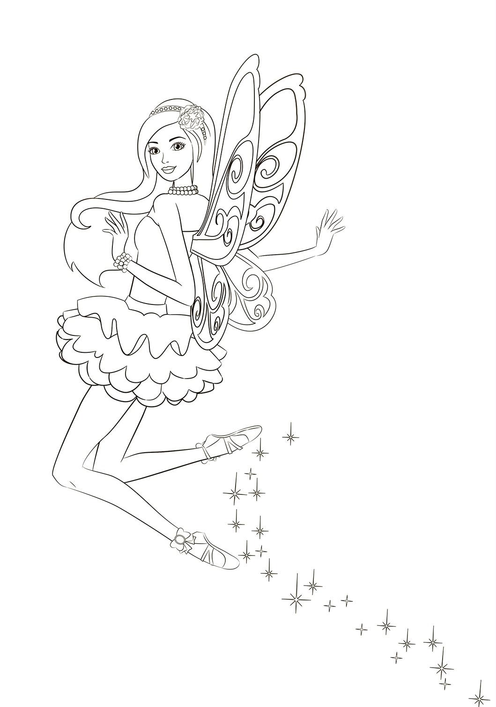Раскраска Танец феи Барби распечатать или скачать бесплатно
