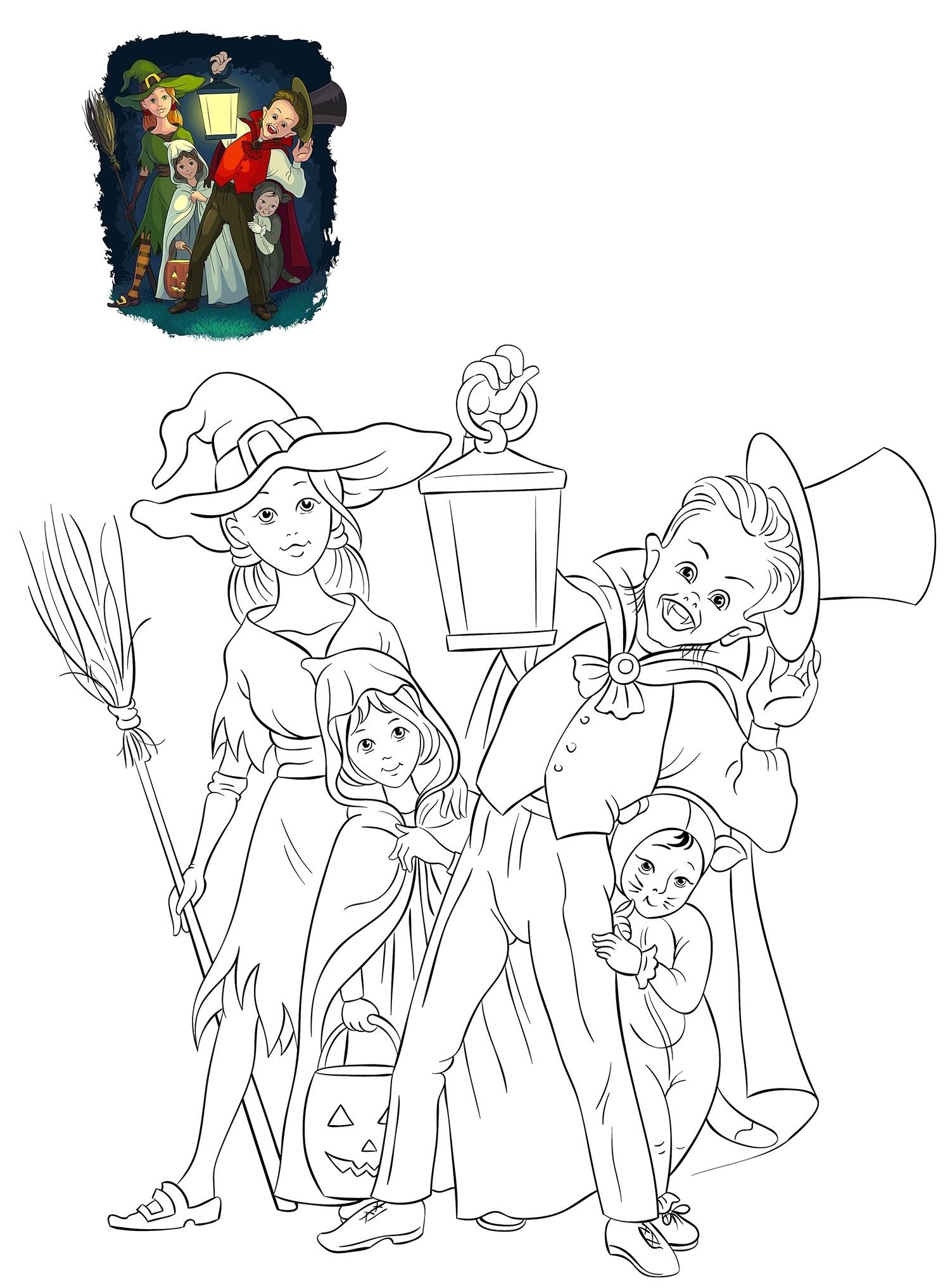 Раскраска Дети в костюмах на Хэллоуин распечатать или ...