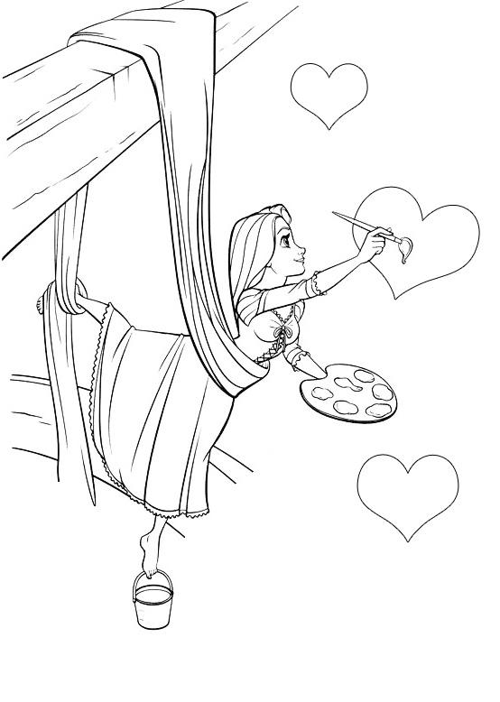 Раскраска Рапунцель рисует сердечки распечатать или ...