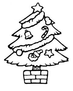 Раскраска Маленькая новогодняя елочка в шарах распечатать ...