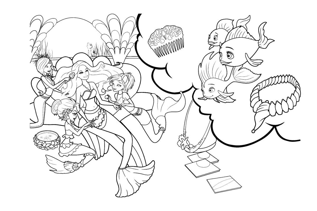 Раскраска Рыбки любуются Барби русалочкой распечатать или ...
