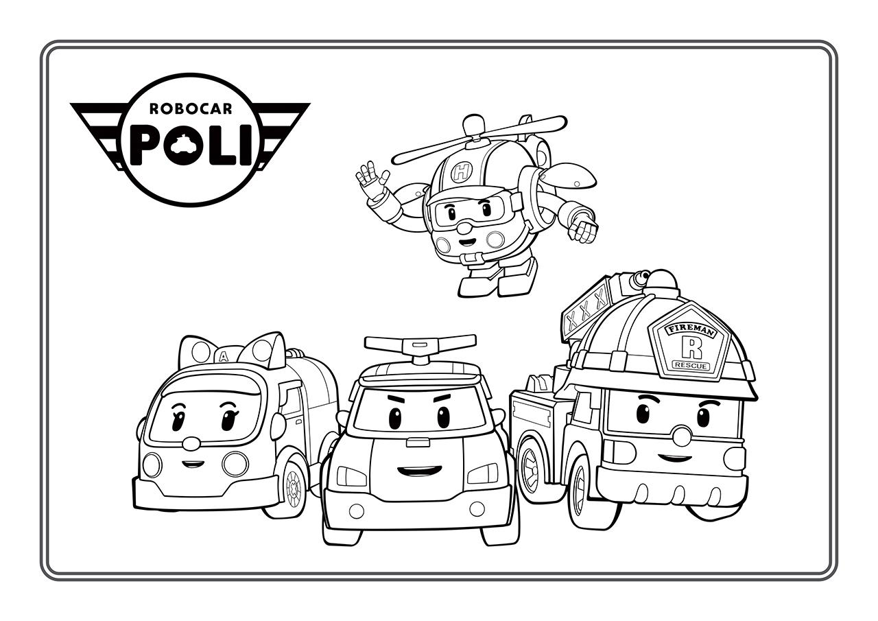 Раскраска Поли и его друзья распечатать или скачать бесплатно