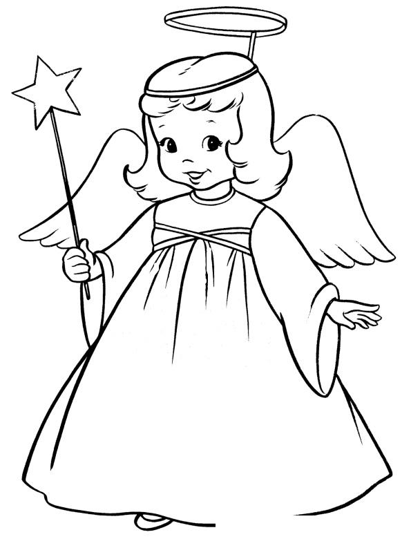 Раскраска Девочка-ангел на Рождество распечатать или ...