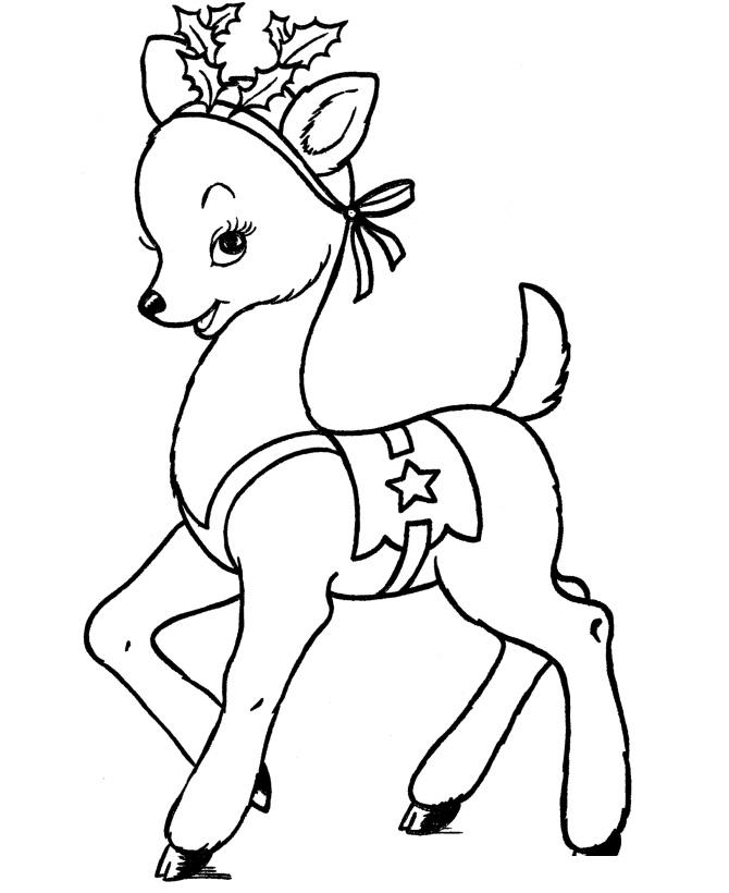 Раскраска Рождественский олень распечатать или скачать ...