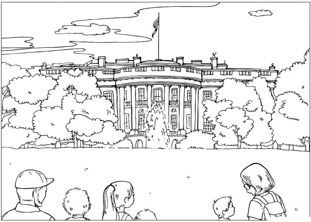Раскраска Белый дом распечатать или скачать бесплатно