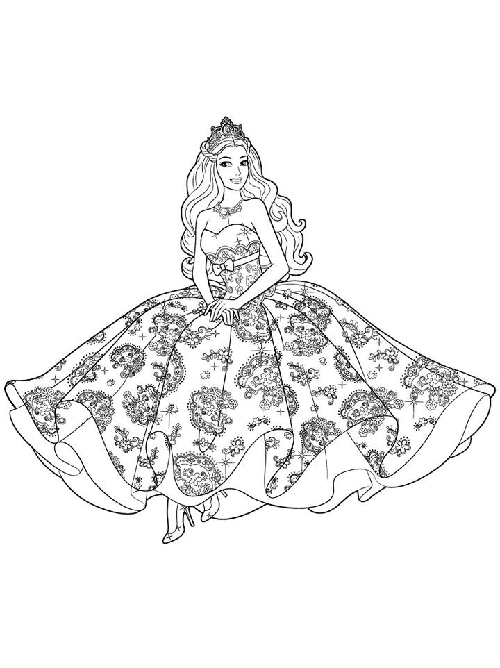 Раскраска Принцесса Барби распечатать или скачать бесплатно