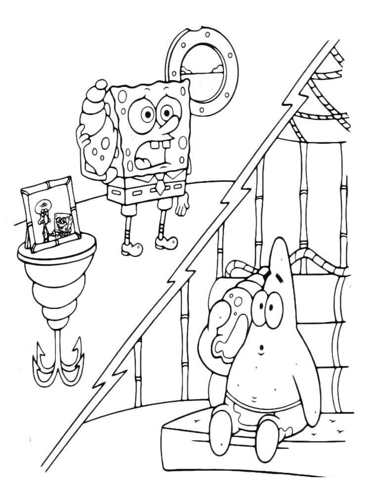 Раскраска Губка Боб и Патрик приветствуют Сквидварда ...