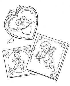 Раскраска Котик и собачка с сердечками распечатать или ...
