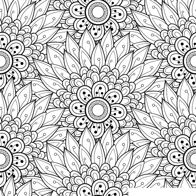 раскраска антистресс причудливые цветы распечатать или