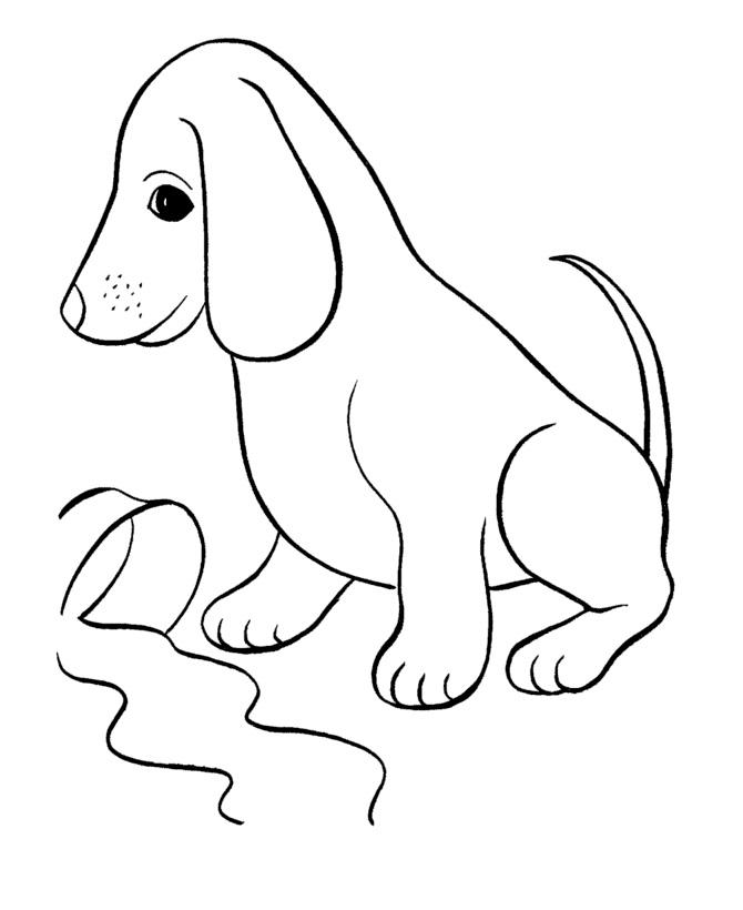 Раскраска Собака опрокинула миску распечатать или скачать ...