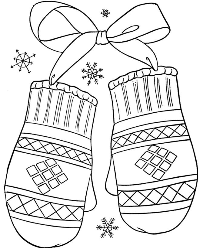 Раскраска Варежки распечатать или скачать бесплатно