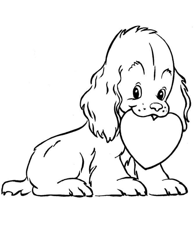 Раскраска Забавная собачка с сердечком распечатать или ...