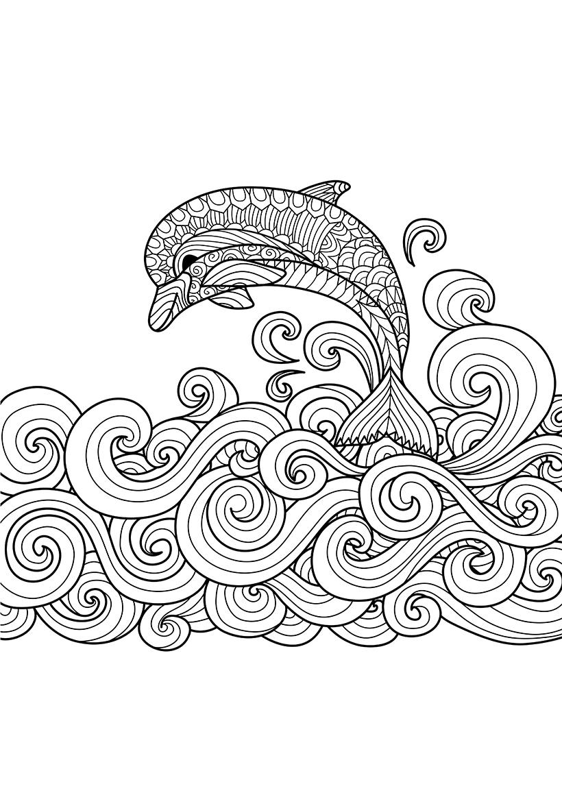 Раскраска Дельфин на волнах распечатать или скачать бесплатно