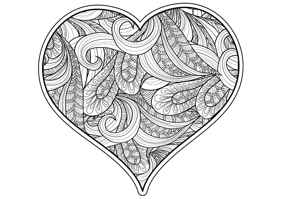 раскраска арт терапия зентангл сердце распечатать или