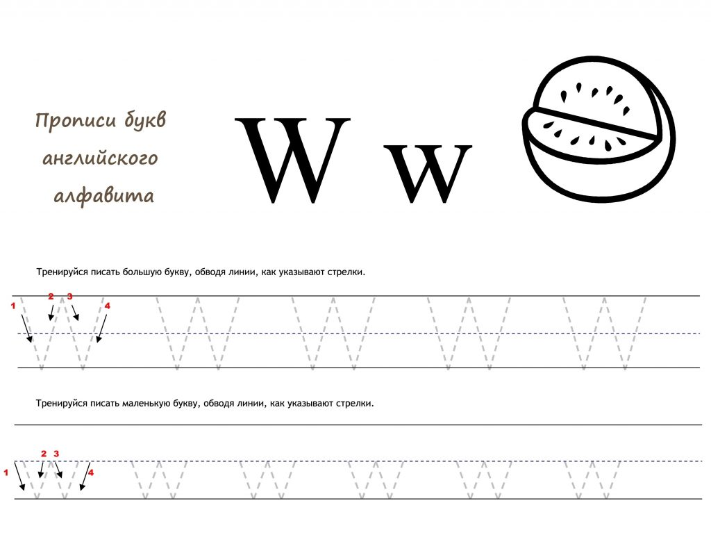 Раскраска Английская буква W прописью распечатать или ...