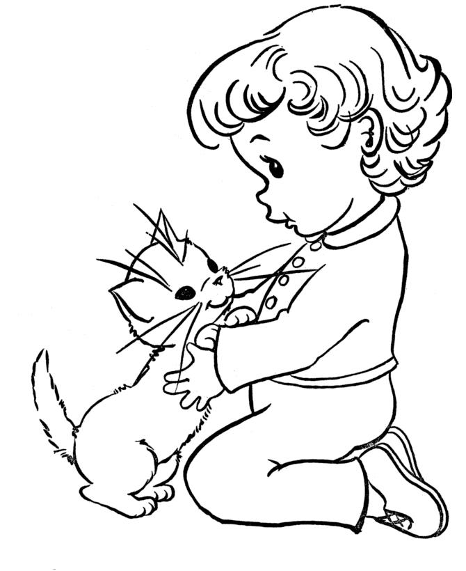 Раскраска Ласковый котенок распечатать или скачать бесплатно